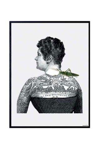 poster lady tattoo con cornice nera 20x25 peccati veniali