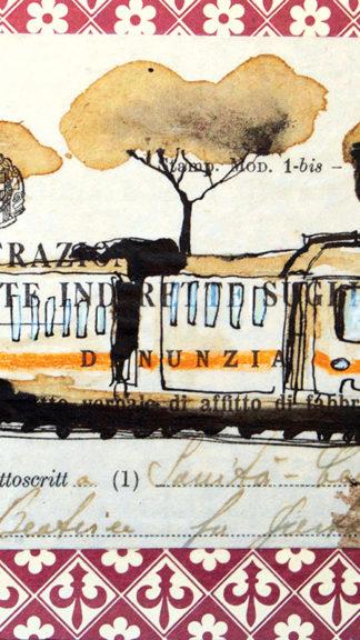 illustrazione roma in tram 21x21cm francesca mariani peccati veniali