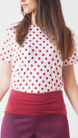 tshirt pois rossi su fondo bianco casana peccati veniali