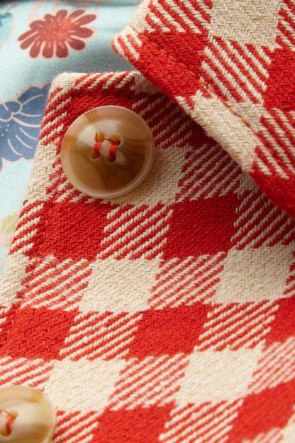 cappotto quadretti rosso e panna nathalie bottone peccati veniali