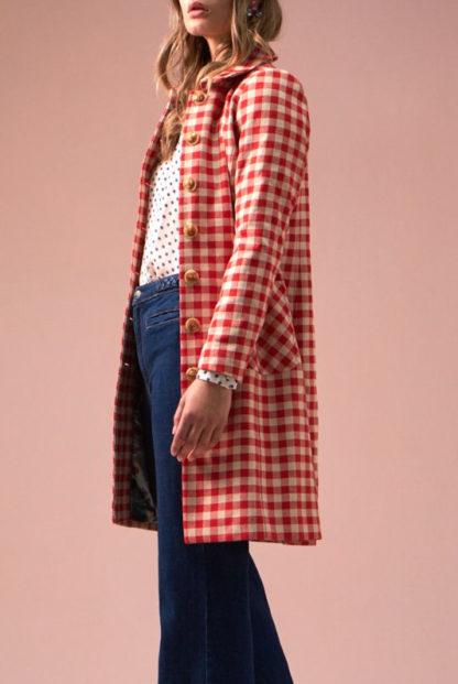 cappotto quadretti rosso e panna nathalie laterale peccati veniali