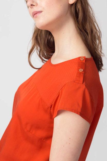 blusa in lyocell arancio amai bottoncini spalla peccati veniali