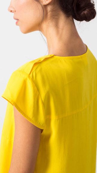 blusa in lyocell gialla amai bottoncini spalla peccati veniali