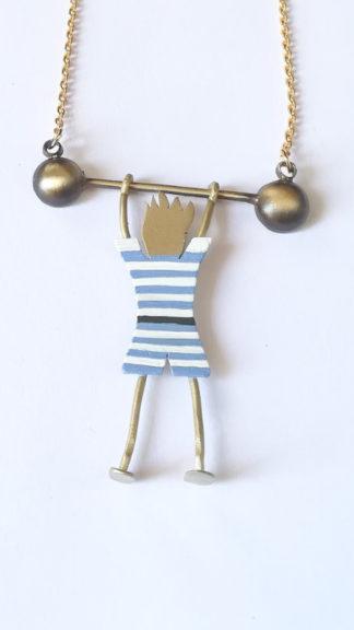 collana con forzuto a righe bianche azzurre particolare peccati veniali