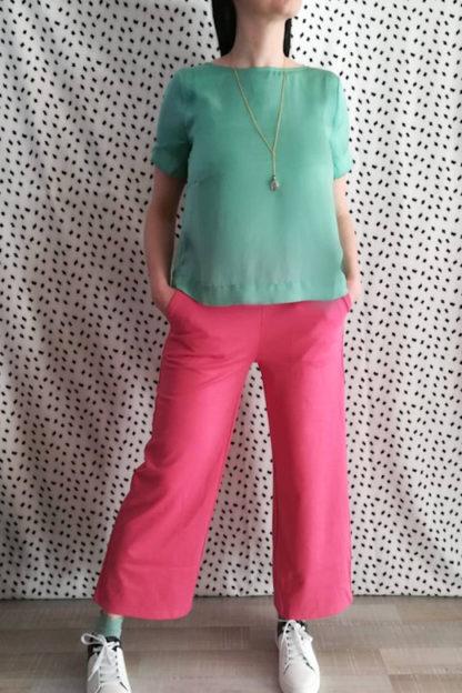 outfit pantalone rosa wide peccati veniali