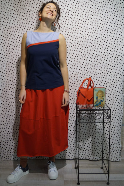 outfit red egg skirt top luccoli peccati veniali