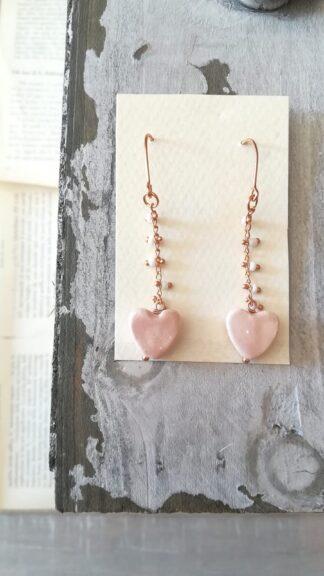 orecchini cuori ceramica galvanica oro rosa peccati veniali