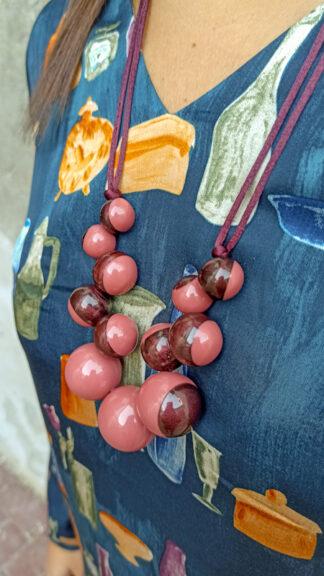 collana bolas bicolor rosa e vinaccia peccati veniali