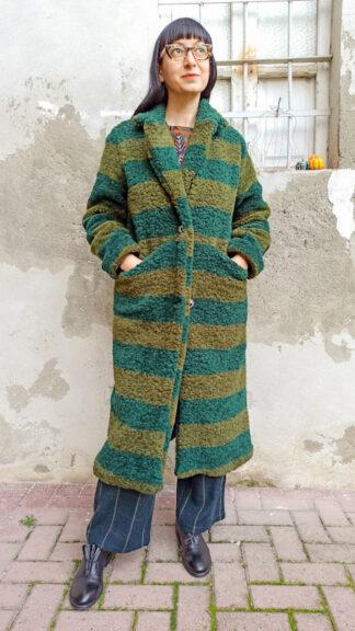 cappotto teddy righe verdi e petrolio peccati veniali