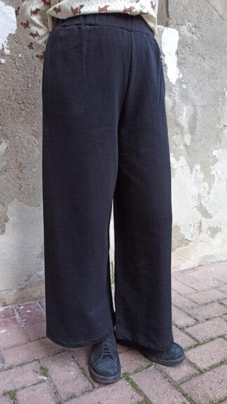 pantalone palazzo in felpa nero peccati veniali
