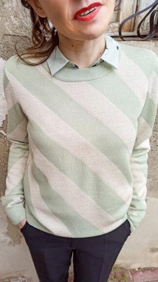 maglia righe trasversali verde chiaro fabiola peccati veniali