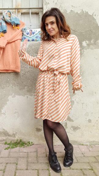 abito chemisier righe diagonali arancio mara peccati veniali
