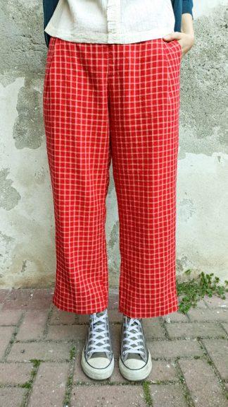 pantalone bauhaus rosso a quadretti peccati veniali